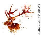 vector watercolor silhouette... | Shutterstock .eps vector #791704519