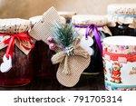 rustic homemade jam jar wooden...   Shutterstock . vector #791705314