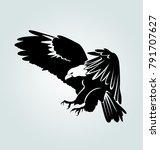 vector silhouette of flying... | Shutterstock .eps vector #791707627