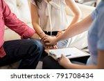 psychologist holding hands of... | Shutterstock . vector #791708434