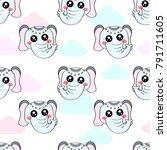 cute kids elephant pattern for...   Shutterstock .eps vector #791711605