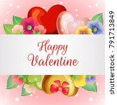 valentine card with blossom... | Shutterstock .eps vector #791713849