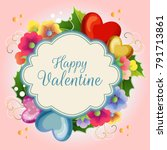 valentine illustration card... | Shutterstock .eps vector #791713861