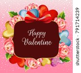 colored camelia valentine snow... | Shutterstock .eps vector #791714239