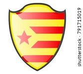 flag of catalonia on a heraldry ... | Shutterstock .eps vector #791715019