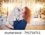 xmas portrait of beautiful... | Shutterstock . vector #791716711