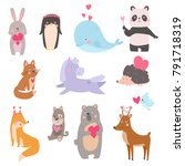 valentine animals set with... | Shutterstock .eps vector #791718319