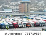 dover uk 8.08 2017 lorry trucks ... | Shutterstock . vector #791719894