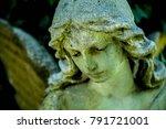 vintage image of a sad angel... | Shutterstock . vector #791721001