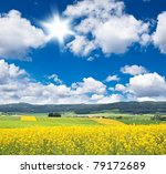 Rapeseed Field Over Cloudy Blu...