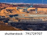 coal mine opencast mining and... | Shutterstock . vector #791729707