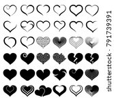 set of symbol heart  vector | Shutterstock .eps vector #791739391