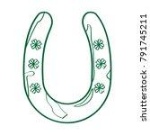 patrick day horseshoe outline...   Shutterstock .eps vector #791745211