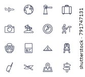 set of 16 relax outline icons... | Shutterstock .eps vector #791747131