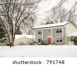 This is a shot of a nice colonial home after an early morning snow. - stock photo