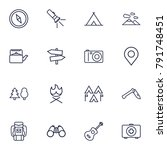 set of 16 picnic outline icons... | Shutterstock .eps vector #791748451