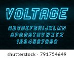 voltage neon light alphabet ... | Shutterstock .eps vector #791754649