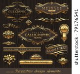 Vector Set Of Golden Ornate...