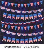 red white blue bunting and...   Shutterstock .eps vector #791766841