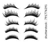 eyelashes set on white...   Shutterstock .eps vector #791776291