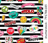 cute girls fashion patches... | Shutterstock .eps vector #791786185