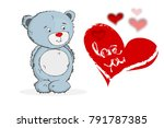 happy valentine's day bear and... | Shutterstock .eps vector #791787385
