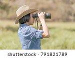 young asian woman short hair... | Shutterstock . vector #791821789