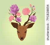 deer with flowers vector art | Shutterstock .eps vector #791828854