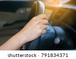 hands of female driver on... | Shutterstock . vector #791834371