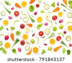 Small photo of Wallpaper abstract composition of fruits and vegetables. Food pattern vegetables. Healthy food concept. Vegetables isolated, top view.