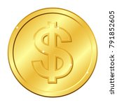 dollar currency gold coin.... | Shutterstock .eps vector #791852605