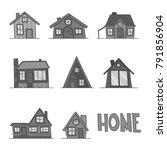 set of vector black and white... | Shutterstock .eps vector #791856904