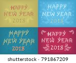 happy new year 2018. four retro ... | Shutterstock . vector #791867209