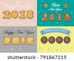 happy new year 2018. four retro ... | Shutterstock . vector #791867215