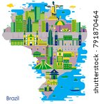 map of country brazil with... | Shutterstock .eps vector #791870464