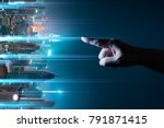 Small photo of Unknown hand touching the light came out from the ground ,flip modern city background with wireless network connection concept , abstract communication technology image visual .