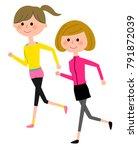 young women  jogging | Shutterstock .eps vector #791872039