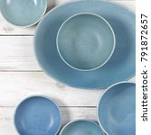 handmade blue ceramic dish and... | Shutterstock . vector #791872657