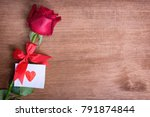 red rose with message card... | Shutterstock . vector #791874844