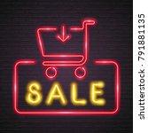 discount neon light glowing... | Shutterstock .eps vector #791881135