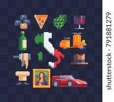 italian icons. 80s pixel art... | Shutterstock .eps vector #791881279