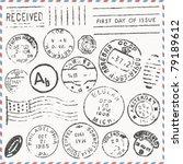 vector set  vintage postage... | Shutterstock .eps vector #79189612