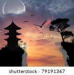 chinese house on the hill near... | Shutterstock . vector #79191367