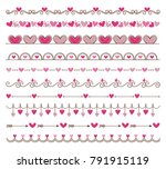 collection of cute hand drawn... | Shutterstock .eps vector #791915119