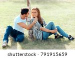 young man in love flirting with ... | Shutterstock . vector #791915659