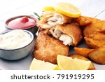 traditional british fish and... | Shutterstock . vector #791919295