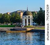 Small photo of Rotunda on the Onega embankment of the city of Petrozavodsk. Karelia, Russia.