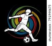 soccer player running and... | Shutterstock .eps vector #791944675