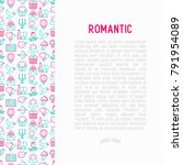 romantic concept with thin line ... | Shutterstock .eps vector #791954089