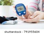 diabetes checking blood sugar...   Shutterstock . vector #791955604